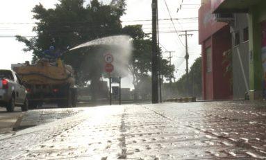 Ariquemes desinfeta ruas com hipoclorito de sódio para conter coronavírus