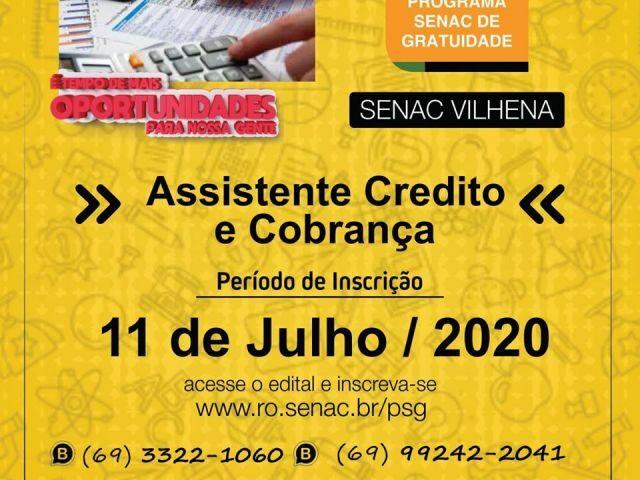 Curso gratuito de Assistente Credito e Cobrança é ofertado pelo SENAC Vilhena