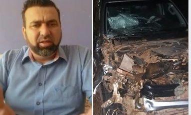Mirandão prefeito de Costa Marques sofre acidente BR 429, veículo ficou destruído ao bater em um animal