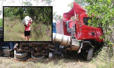 Carreta tomba em rodovia de MT e carga de cerveja é saqueada