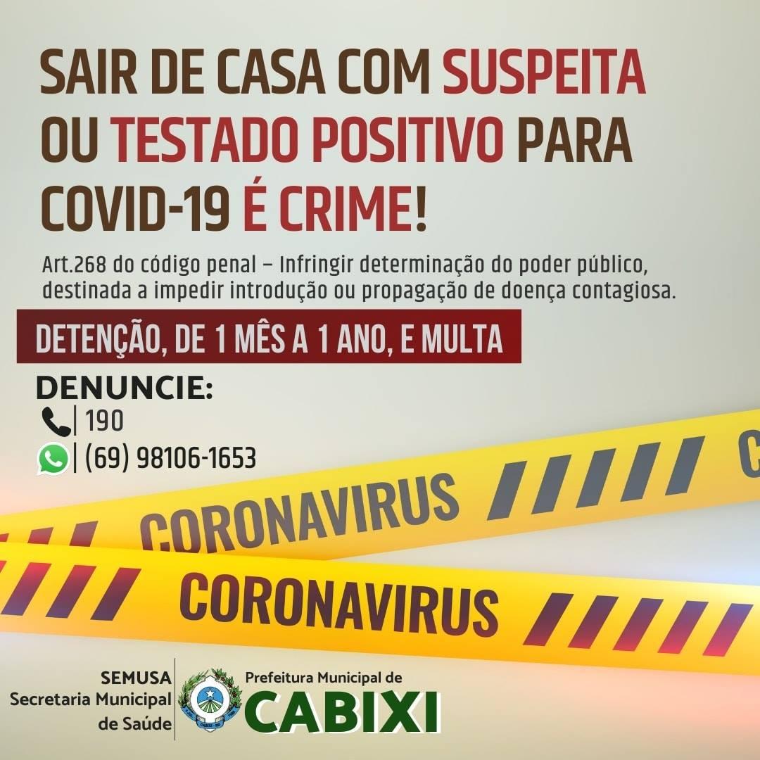 Semusa de Cabixi alerta: sair de casa com suspeita ou positivo para Covid-19 é crime