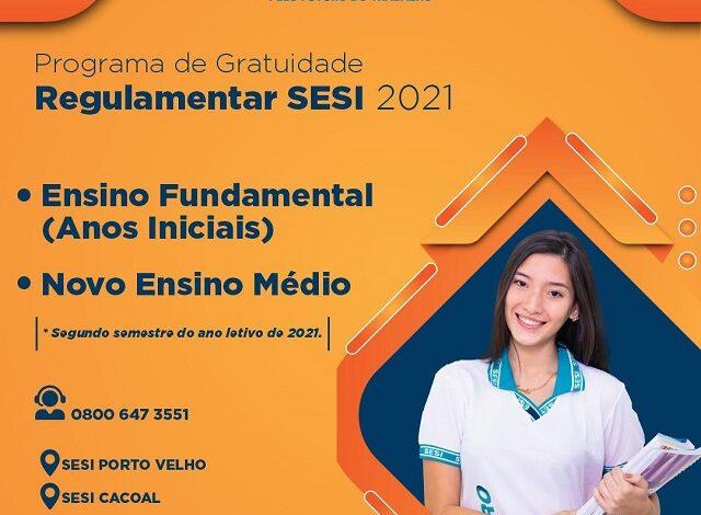 SESI-RO disponibiliza 143 vagas gratuitas para o Ensino Fundamental e Novo Ensino Médio